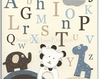 Letters Nursery Wall Art - Baby Boy Letters Nursery Wall Art With Elephant, Lion And Giraffe, Match Bradley Bedding, kids room art, childre