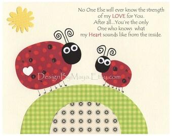 Baby Room Decor,Ladybug Nursery, kids room Art ...No one else.... Ladybugs