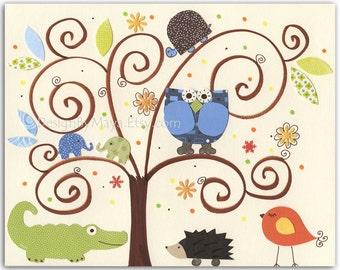 Gender neutral print, Nursery Art Decor, Kids Print, Baby room print, jungle Animals ...Animal tree with hedgehog and alligator