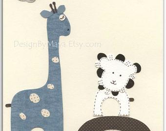 Baby boy room, Nursery print, Baby Giraffe...Bradley Giraffe with baby lion..Match to the colors of Bradley, kids room art, Bedding Set