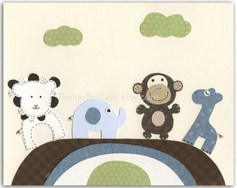 Baby boy Nursery print, Baby giraffe, elephant, monkey, lion...4 little Buddies...green blue brown