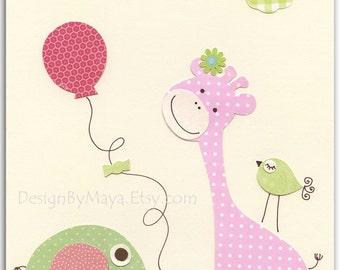 Baby girl, nursery wall art print, Baby room decor..elephant, giraffe..light pink light green match to the colors of Hayley bedding, balloon