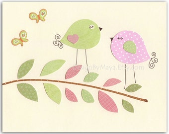 Baby girl room print, Nursery wall art print, Baby girl room decor, kids room, birds ...2 birds on the branch....light pink light green