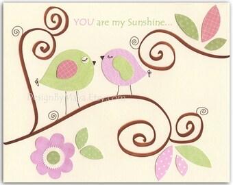 Baby Girl Wall Art // Nursery Room Decor // Nursery Decor // Baby Room Wall Art // You Are My Sunshine Wall Art // Hayley Bedding Set
