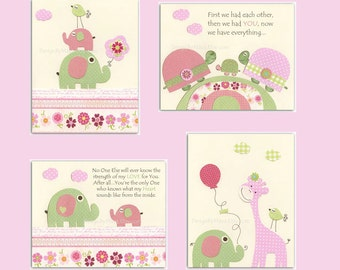Nursery Art Prints, Baby Girl Nursery, Kids Wall Art // Colors Pink Green // Elephant Turtle Birds // Hayley Bedding // Set of 4 8x10 Print
