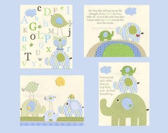 Nursery Art Print, Kids Wall Decor, Baby Boy Nursery, Eli Elephant Bedding, kids room art, Blue Green, Set of 4, Featured in Project Nursery
