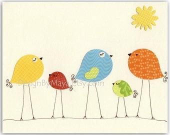 Baby Room decor, Nursery Art Decor, Kids Print, baby birds... Rainbow series Birds