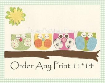 Baby room wall art, Nursery Decor Art,  Kids Room, baby elephant, baby giraffe,..order any print 11x14