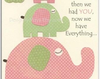 Baby Girl Nursery Wall Art Print, Baby Girl Room Decor, Baby Girl Pink and Green elephant Nursery, green Pink and Sage