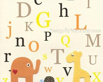 Nursery Wall Art Print baby room Alphabet..ABC, yellow, brown and orange, baby giraffe, elephant, turtle