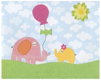 Baby girl room, nursery wall art, nursery Art, baby elephant, pink and yellow, green grass, sky, clouds