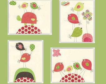 Baby girl room decor, Nursery wall art, baby girl nursery,love birds..Bright pink Light pink, green and brown, set of 4 8x10