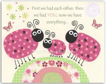 Baby girl, Nursery wall art print, Baby room decor, ladybug ...first we had...light pink light green..hot pink and green, Ladybugs