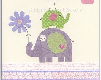 Baby girl Room Decor, Nursery wall Art prints, baby elephant, Flower,match to carters elephant patches bedding, lavender and green