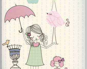 Baby girl, Nursery wall art print, Baby room decor, Paris umbrella ...shabby chic, vintage style nursery..light pink light green