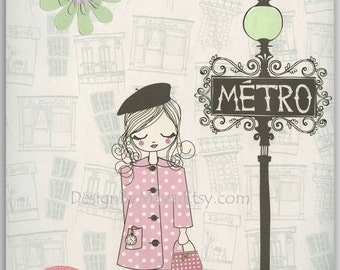 Nursery wall art print, Baby room decor, Baby girl, Paris Metro ...shabby chic, vintage style nursery..light pink light green