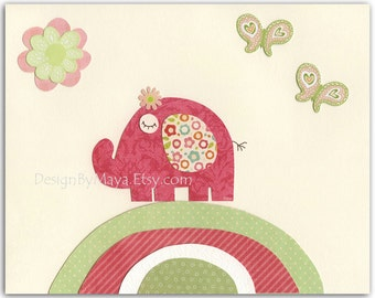 Baby girl, Nursery wall art print, Baby room decor, love birds, baby owl ...Pink Elephant..light pink light green..hayley bedding set