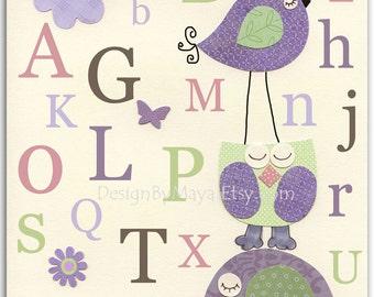 Kids Room Decor, Nursery wall Art print, baby elephant, alphabet, baby owl ..ABC..lilac, purple, lavender, green