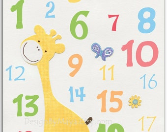 Nursery wall art Decor, Children Art print, play room art, Numbers.123 yellow giraffe, purple butterfly