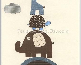 Baby boy room, Nursery print, kids room...Bradley Giraffe, elephant with baby turtle..Match colors of Bradley, kids room art, children art