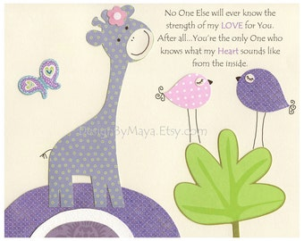 Kids Room Decor, Nursery wall Art print, baby bird ..No one else will ever know...lilac, purple, lavender, green