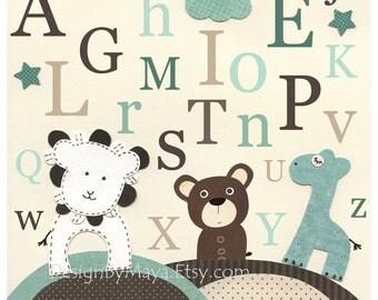 Nursery print, Baby Room Decor, Baby room art ...abc, alphabet, baby bear, lion, giraffe, teal, cream, brown
