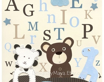 Baby boy room, Nursery print, Baby Giraffe, lion, baby bear...ABC..Match to the colors of park avenue Bedding, baby blue brown