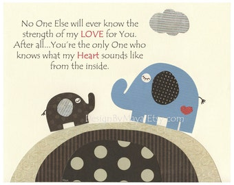 Baby boy nursery art, Nursery print, Baby elephant..no one else..teal, blue, brown and cream, polka dot