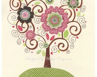 Baby girl, Nursery wall print, Baby girl room decor, love bird, tree, flowers....Green, pink brown, ivory, light pink, pale pink and sage