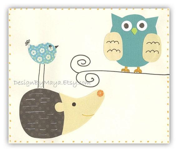 Baby Room Decor Nursery Art Bird owl..Hedgehog and friends