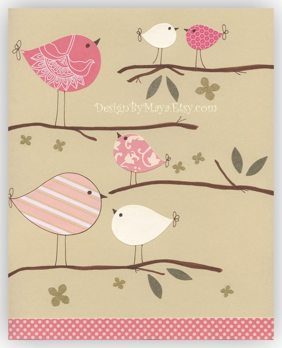 Nursery Decor Art For Kids Room..A Birdie Day