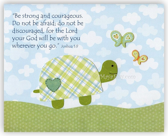 Baby room Nursery Decor Children Art owl...The gingham turtle (boy) Be strong and courageous. Do not be afraid ....God will be with you...