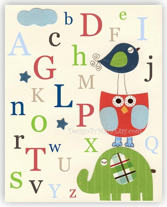 Nursery wall art Decor Art for Kids Room alphabet..Red Blue Green ABC