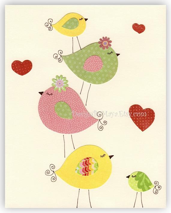 Nursery Print Art Decor Kids Print  love birds...Family Fun