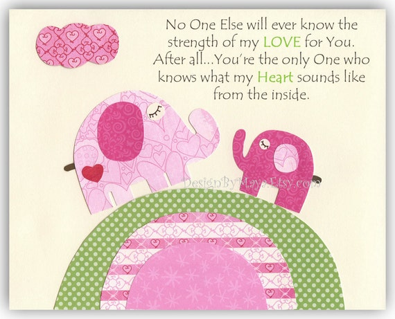Baby girl nursery, Kids room Print, Nursery wall Art Decor, elephant...No One...the strength of my LOVE For You..
