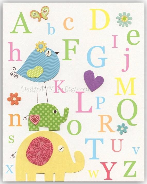 Nursery wall art Decor, Children Art print, Alphabet..ABC yellow elephant