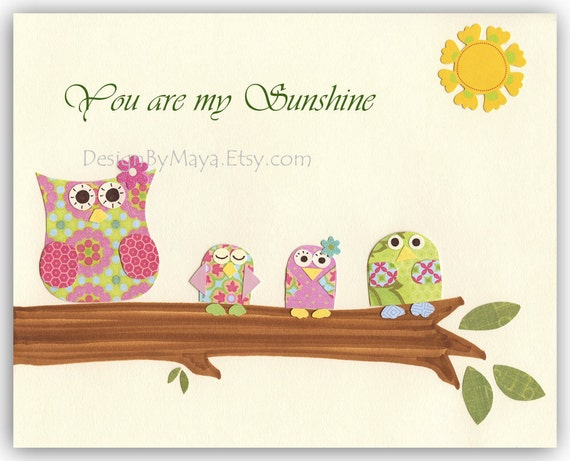 You are my sunshine nursery wall art baby girl owl decor - Girl owl decor ...
