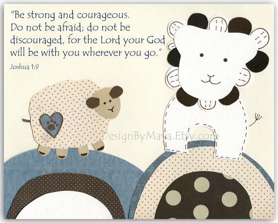 Baby boy room, Nursery print, Baby Giraffe, brown and blue, be strong joshua 1-9, little sheep, lamb lion, kids room art,Biblical verse