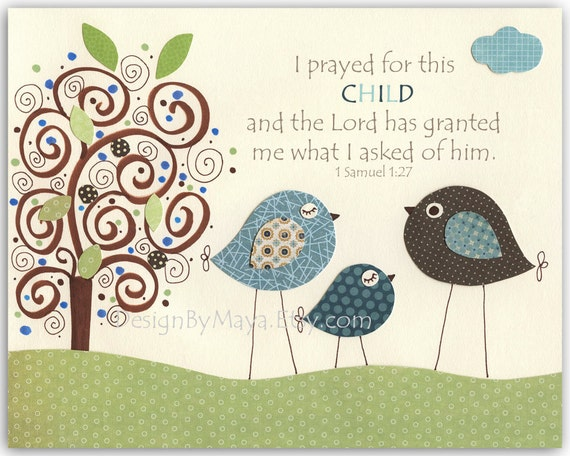 Baby Boy baptism, Nursery wall art Decor, baby boy room art, birds...I prayed for this CHILD.. Lord has..of him