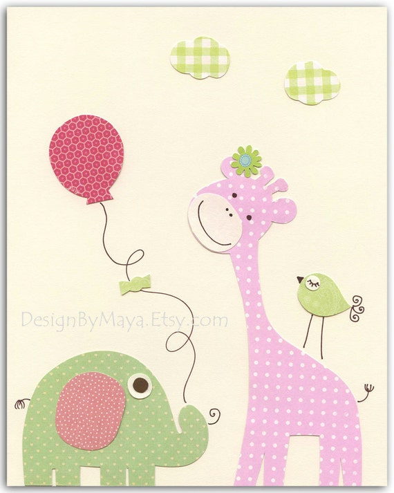 Baby girl nursery wall art print Baby room decorelephant
