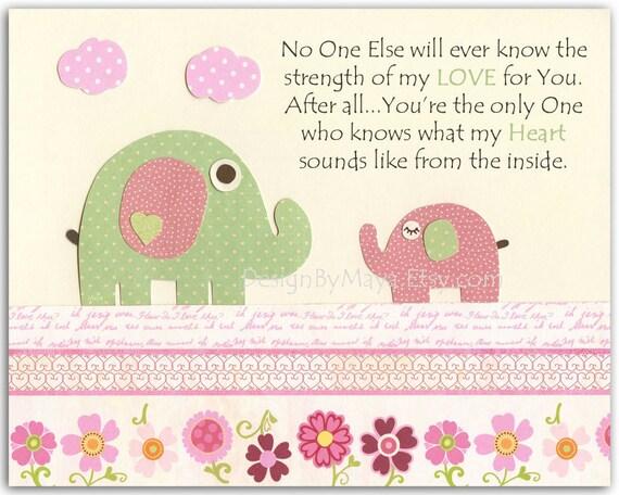 Baby girl nursery, Nursery wall art print, Baby girl room decor, baby elephant ...no one..light pink light green, match the Hayley colors