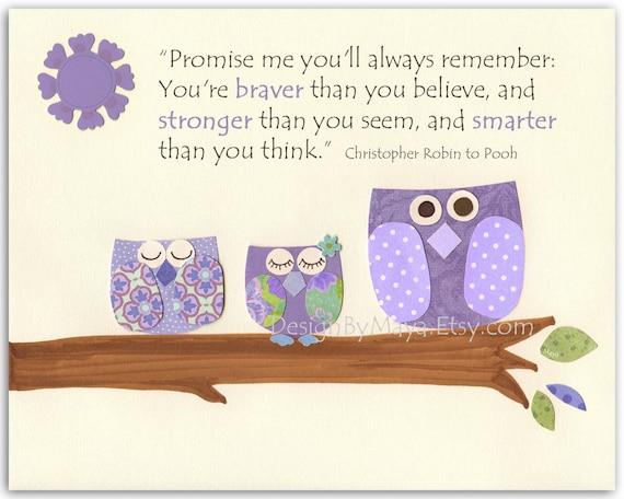 Girls Room Wall Art - Baby Girl Room Decor, Nursery Owls Quote: Promise Me You'll Always, Winnie The Pooh - Purple, Lavender, Violet Nurser