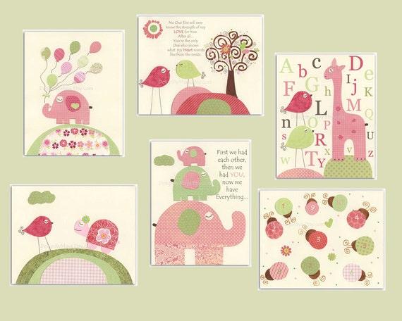 Nursery wall print, Baby girl room decor, Set of 6 8x10 prints, Giraffe, elephant, turtle...Green, light pink, pale pink and sage