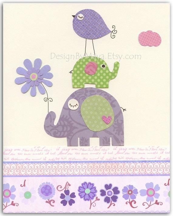 baby girl room decor nursery wall art prints baby elephant. Black Bedroom Furniture Sets. Home Design Ideas