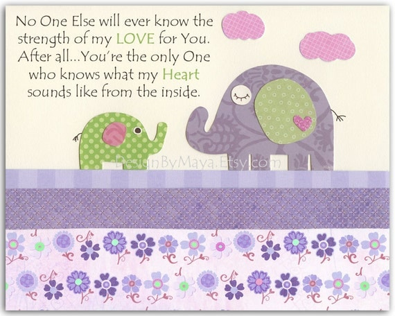 Baby girl Room Decor, Nursery wall Art prints, baby elephant, no one else..match to carters elephant patches bedding, lavender and green