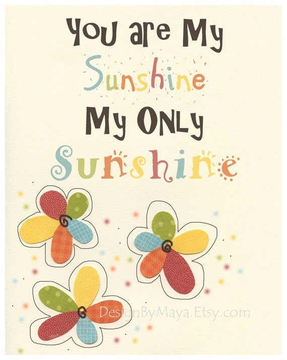 You Are My Sunshine Art Print For Children's Nursery // Children Room Decoration // Shunshine Children Room Art // Green Yellow Red Orange