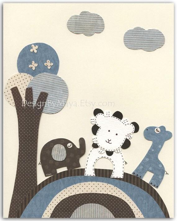 Baby boy Nursery print, Baby giraffe, elephant, lion...Bradley Buddies vertical...Match to the colors of Bradley, children decor, kids art