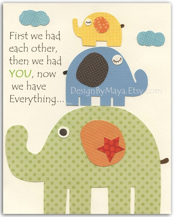 Nursery wall art print, Baby Room Decor, elephant ...First we had , red, blue, green, yellow, orange, brown, gender neutral nursery