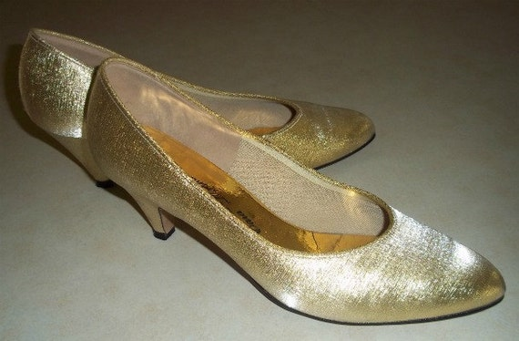 Vintage High Heels Pumps Gold Lame Mad Men Cocktail Party Size 8 - Priority Shipping