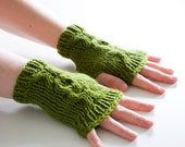 hand knit fingerless mittens - the xox fingerless gloves in green - merino wool